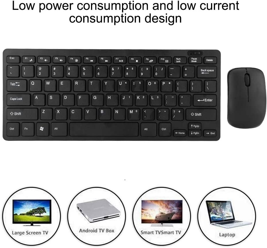 Wendry Wireless Keyboard and Mouse Ultra-Thin 2.4G Mini Wireless Keyboard and Optical Mouse Set Suitable for Desktop Laptop Smart TV Black