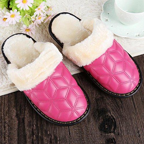 Ladies Casual zapatillas en otoño y invierno la cálido interior de piel sintética acolchada zapatillas, Rose Red, 40
