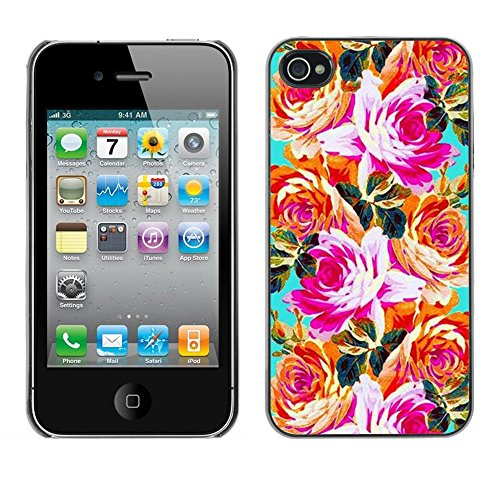 Soft Silicone Rubber Case Hard Cover Protective Accessory Compatible with Apple iPhone? 4 & 4S - orange pink teal flowers