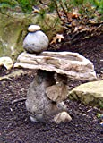 Balancing Rock Birdbath Sculpture Home & Garden Decor Water Feature