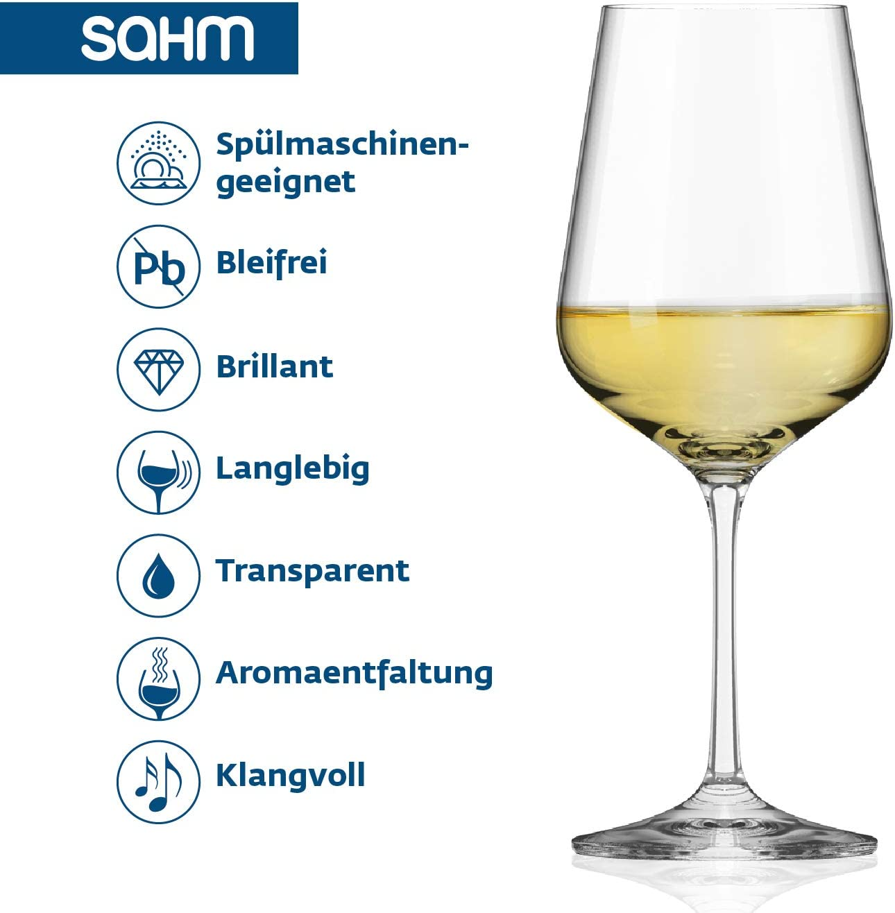   360 ml Weissweingl/äser 6 STK. Langlebiges Weingl/äser Set Weisswein Sp/ülmaschinengeeignet Sahm Weingl/äser Weisswein Set
