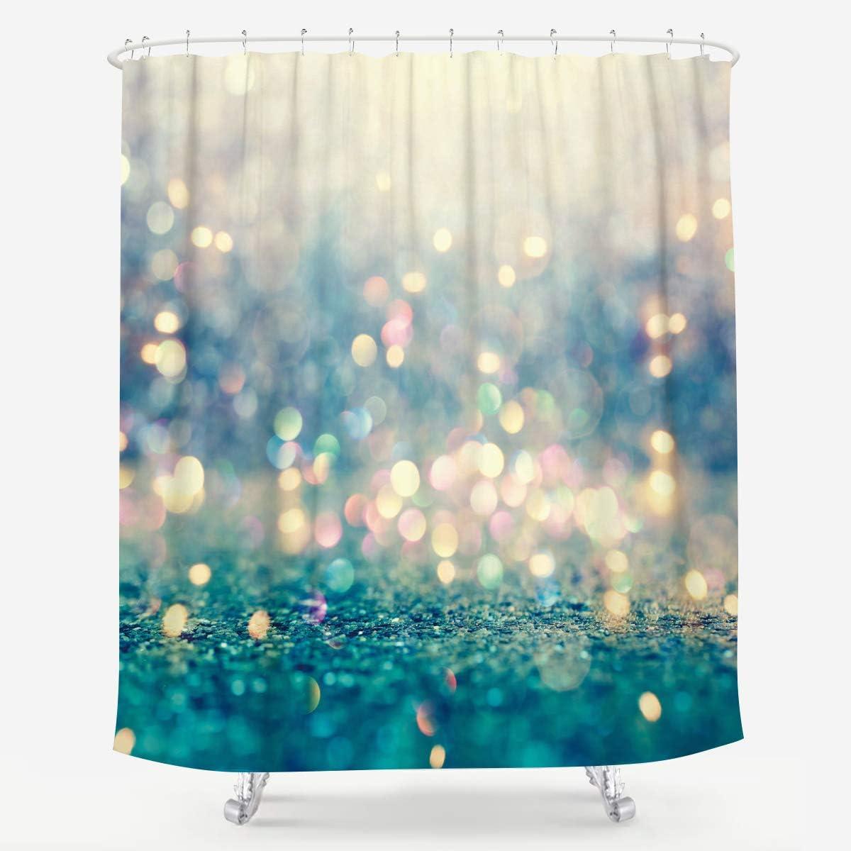 LIGHTINHOME Blue Golden Bokeh Shiny Shower Curtain (No Glitter) Polka Dots Sparkle Abstract Fabric Waterproof Home Bathtub Decor 12 Pack Plastic Hook 72x72 Inch