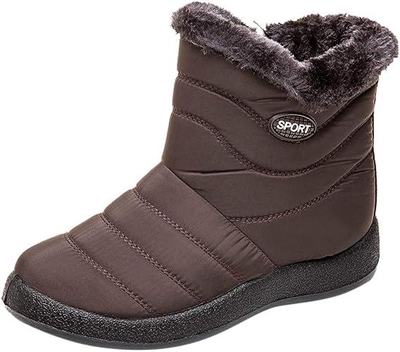 GOGC botas de invierno impermeables para mujer, botas de nieve cálidas, zapatos de invierno para mujer, botas cómodas de marca de gran tamaño para