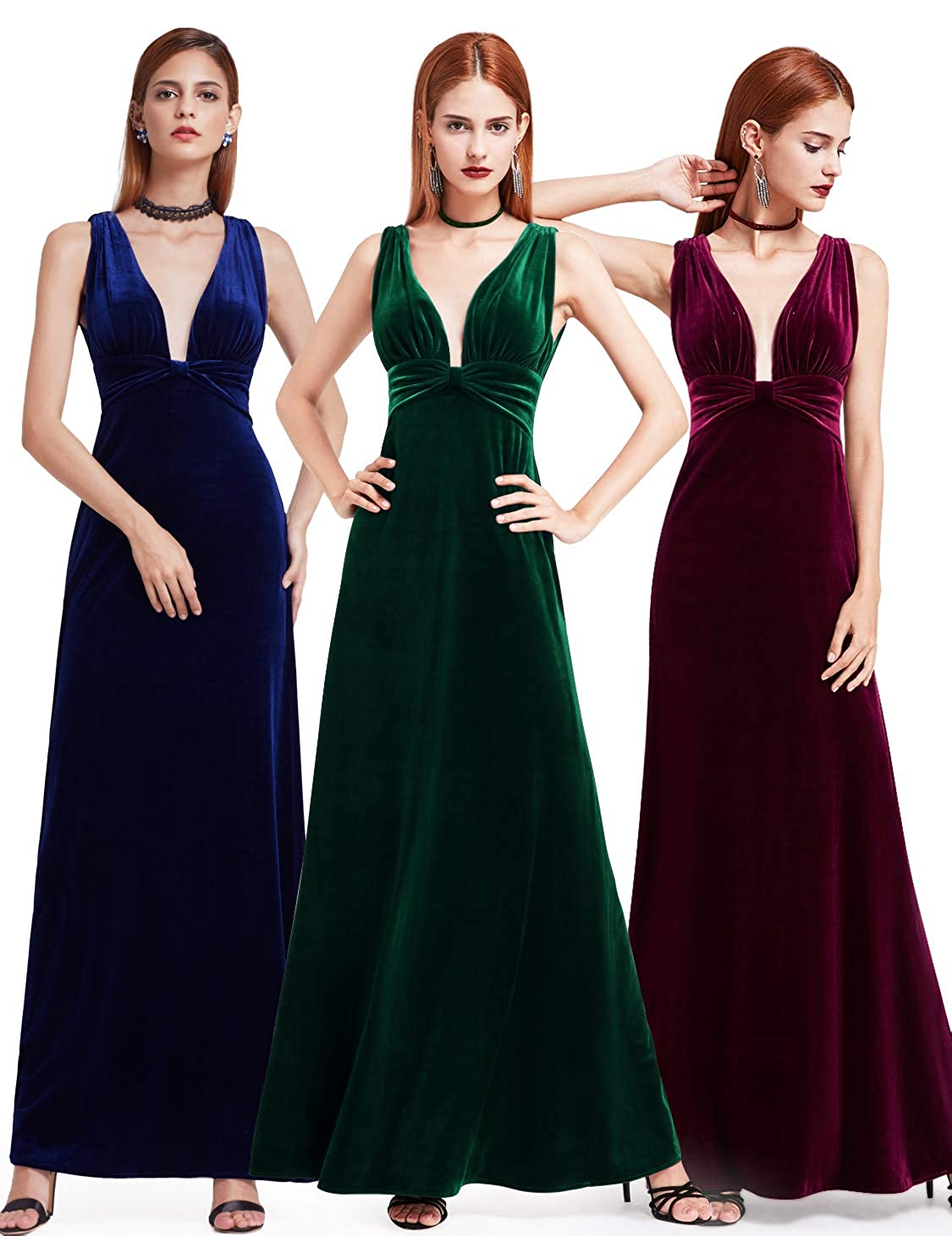 eeb09c7593 Ever-Pretty Women s Velvet Spaghetti Strap V Neck Evening Dress with Thigh  High Slit 07181 at Amazon Women s Clothing store