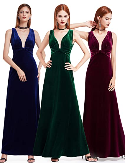 68b5e43865738 Ever-Pretty Women's Velvet Spaghetti Strap V Neck Evening Dress with Thigh  High Slit 07181