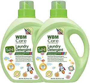 WBM LLC 8615-2PK 3X Concentrated Liquid, Plant Based, 35.2 Oz, Active Baby Laundry Detergent, 70 Fl oz