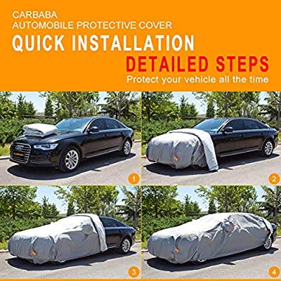 MORNYRAY Waterproof Car Cover All Weather Snowproof UV Protection Windproof Outdoor Full car Cover Universal Fit for Sedan Fit Sedan Length 178-185 inch