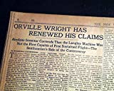 ORVILLE WRIGHT Brothers vs. Samuel P. Langley 1ST AIRPLANE Flight 1928 Newspaper THE NEW YORK TIMES, March 11, 1928