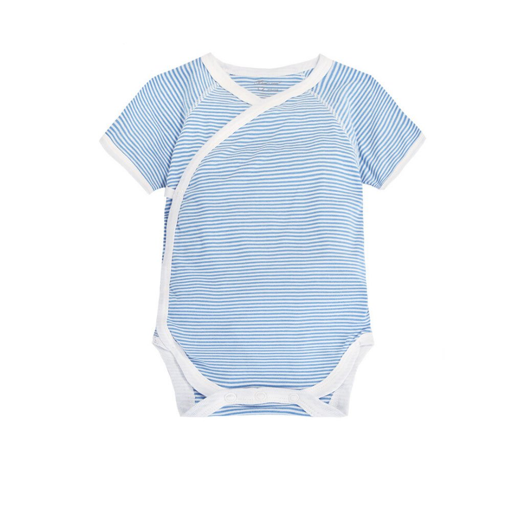 CuteOn Infant Baby Summer Clothes Onesies Cotton Bodysuit Short Sleeve Kimono Style with Side Snaps Gray 6 Months