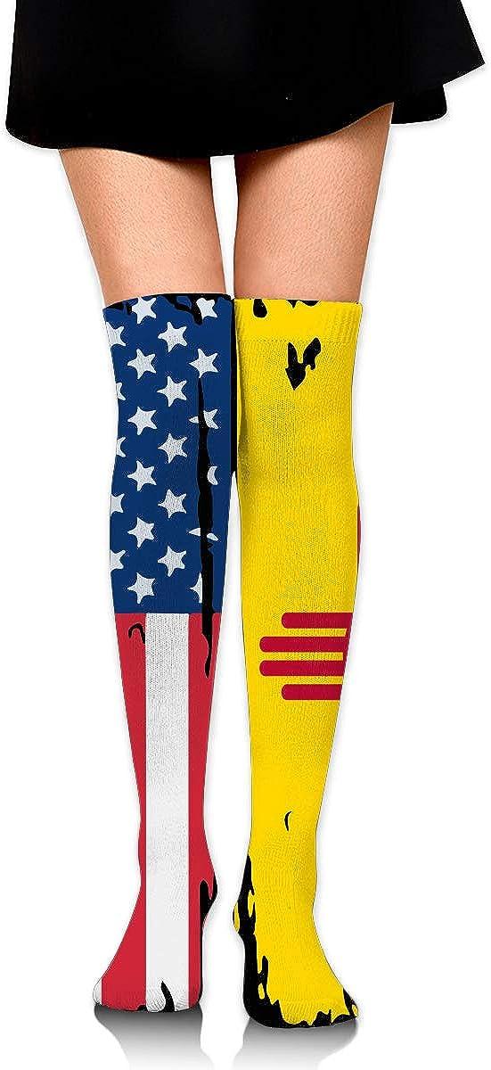 American New Mexico Flag Tube Socks Cotton Thigh High Compression Socks