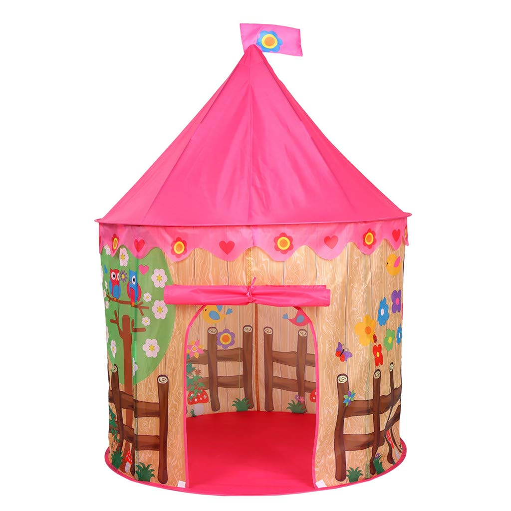 Binory Folding Kids Play Tent Indoor Outdoor Playhouse Toys with Carry Case,Building A Castle Belongs to Children to Play Pretend Hiding Game Party Favors,Gift Idea for Boys Girls(Pink House)