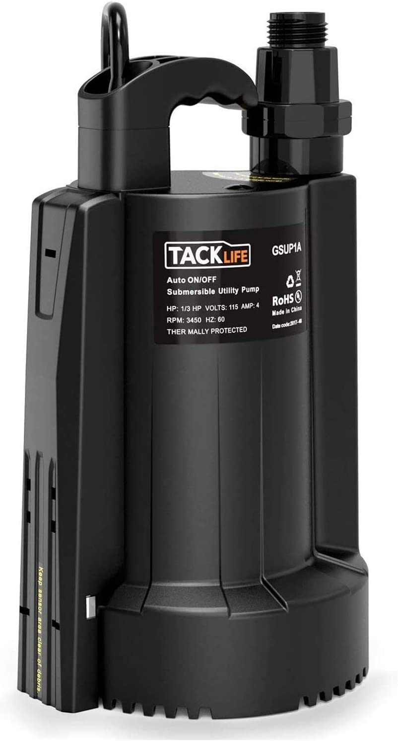TACKLIFE Utility Pump, 1/3 HP, Automatic Sensor Switch, 2550 GPH Max Flow, Low Noise, Check Valve, High-efficiency Pure Copper Motor, For Swimming Pool Garden Pond Flood Drain