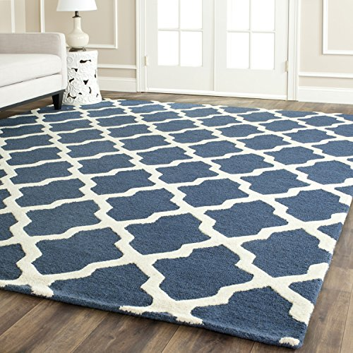 Rectangle Navy Rug (Safavieh Cambridge Collection CAM121G Handcrafted Moroccan Geometric Navy Blue and Ivory Premium Wool Area Rug (9' x 12'))