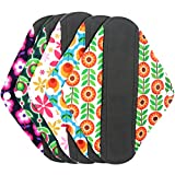 Wegreeco Bamboo Reusable Sanitary Pads - Cloth Sanitary Pads | Bladder Support & Incontinence Pads | Reusable Menstrual Pads - Pack of 5 (Medium,Flower)