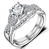 Diamond Cut Infinity Band Rings - Round Radiant Cubic Zirconia Women Wedding Band Ring Set Size 6-9 (11)