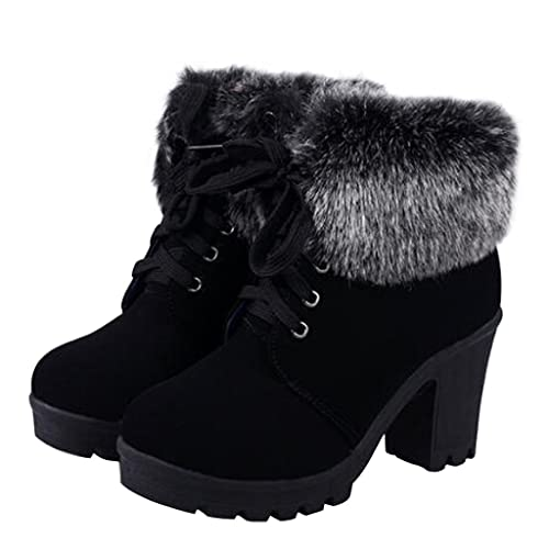 2bb04b42ab4ab Amazon.com | Dear Time Women Faux Fur Lace-up High Heels Ankle Boots |  Ankle & Bootie