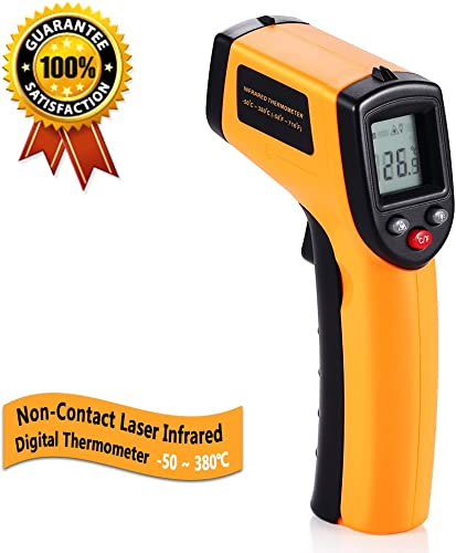Digital Infrared Thermometer, Non-Contact Laser IR Temperature Gun Instant-read with 2 AAA Batteries Included Emissivity 0.95 fixed Range -50 to 380 -58 to 716