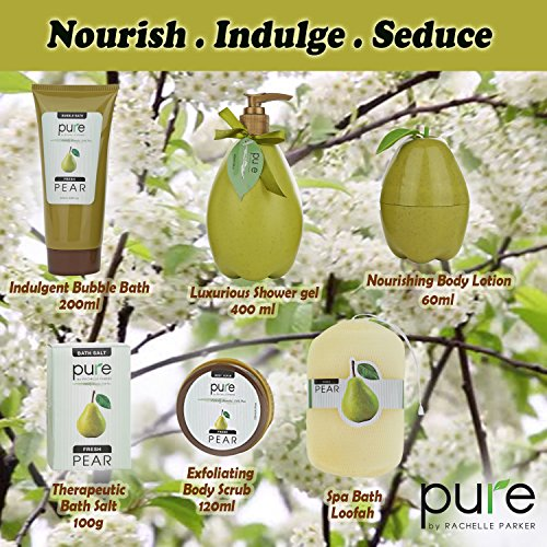 Luxury-Spa-Gift-Basket-PURE-Spa-Basket-Bath-and-Body-Gift-Set-Pear-Bath-Set-Includes-Bubble-Bath-Body-Scrub-Shower-Gel-more-1-Gift-Baskets-for-Women-Large
