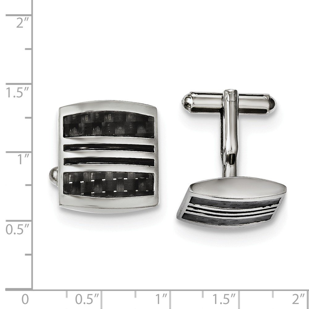 Stainless Steel Polished with Black Carbon Fiber Inlay /& Enamel Cuff Links 21mm x 19mm
