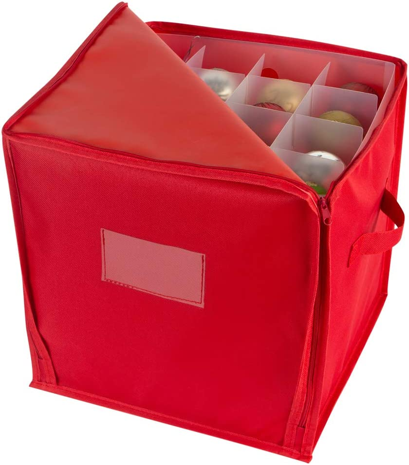 Simplify Stackable Christmas Stores up to 27 Jumbo Holiday Ornaments Attractive Storage Box Adjustable Dividers Red Zippered Closure Bin with Two Handles Count