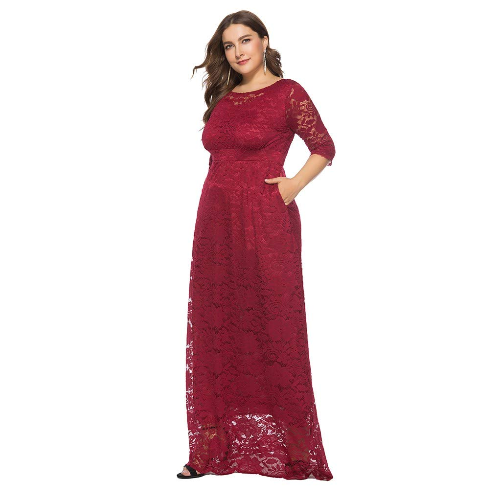 Mitlfuny Women Solid Color Oversize Vintage Floral Lace Plus Size Cocktail Formal Swing Dress Party Cocktail Floor Length Evening Dress
