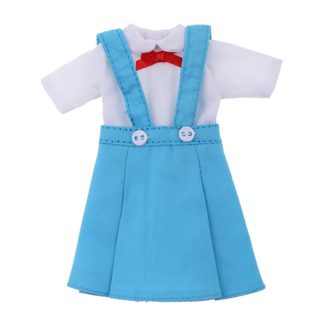 Homyl Cute Dolls T-shrit Suspender Dress Outfit for 12inch Neo Blythe Azone Ob Dal Doll