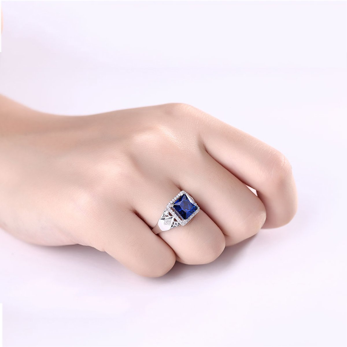 Pegaffi Princess Cut Created Blue Sapphire Engagement Rings in ...