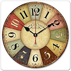 iCasso 12 Vintage France Paris Colourful French Country Tuscan Style Non-Ticking Silent Wood Wall Clock