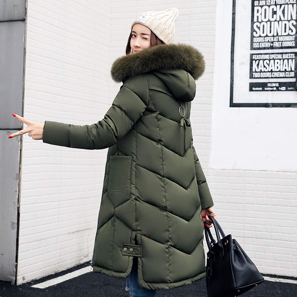 iYYVV Womens Outerwear Fur Hooded Coat Long Jackets Pocket Cotton-Padded Down Coats