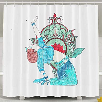 Beautiful Belly Dance Shower Curtain Repellent Fabric Mildew Resistant Machine Washable Bathroom Anti Bacterial Polyester