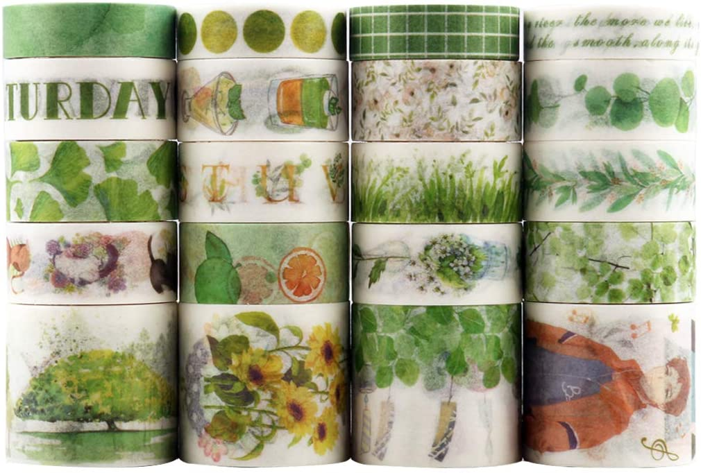 Dizdkizd 20 Rolls Washi Tape Set, Green Motif Masking Tape with 3 Sizes 10/15/30mm Wide, Natural Style Decor Colorful Tapes for DIY Craft, Bullet Journal, Planners, Scrapbooking