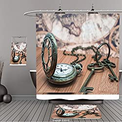 Uhoo Bathroom Suits & Shower Curtains Floor Mats And Bath Towels 312264614 Antique Grunge Pocket Watch Clock, Skeleton Keys On Wooden Table and Ancient Map Background For Bathroom