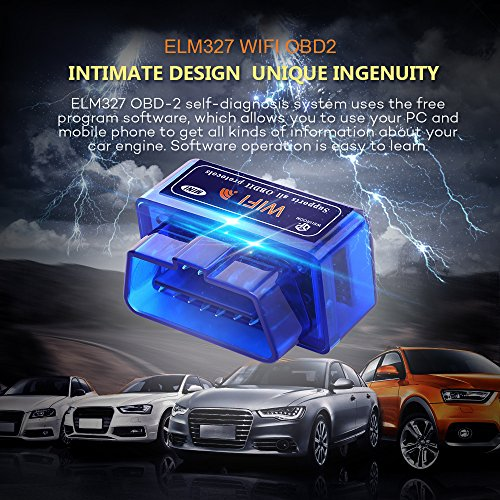 Car Wifi OBD 2, Mini OBD2 Scan Tool, Wsiiroon Mini Car OBD2 OBDII Scan Tool Auto Diagnostic Scanner Code Reader/Scan Tool Check Engine Light for IOS & Android (Blue)