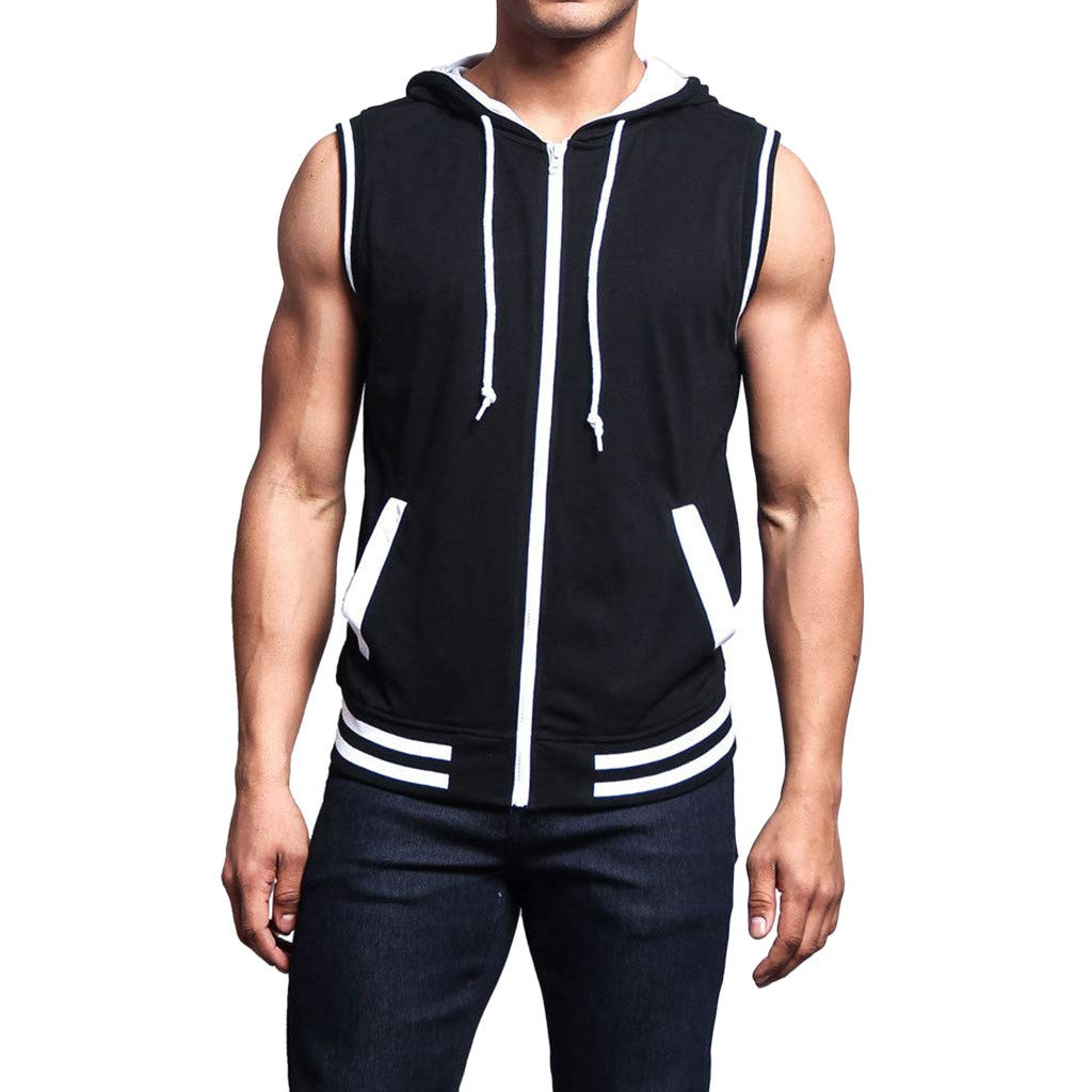 GzxtLTX Fashionable Mens Vest Jacket Lightweight Patchwork Sleeveless Contrast Hoodie