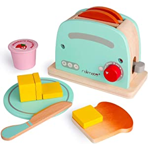 rolimate Wooden Toaster Toy Kitchen Sets Early Educational Developmental Montessori Toy Encourages Imaginative Play Kitchen Role Play Fun Best Birthday Gift for 2 3 4+Years Old Boy Girl