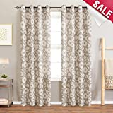 Floral Printed Curtains for Bedroom 72 inch Length Vintage Print Window Treatment Linen Textured Curtains Grommet for Living Room, 2 Panels, Taupe and White