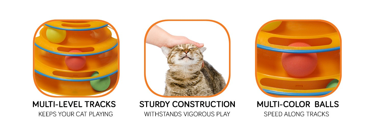 Purrfect Feline Titan's Tower - New Safer Bar Design, Interactive Cat Ball Toy, Exerciser Game, Teaser, Anti-Slip, Active Healthy Lifestyle, Suitable for Multiple Cats (Orange) by Purrfect Feline (Image #3)