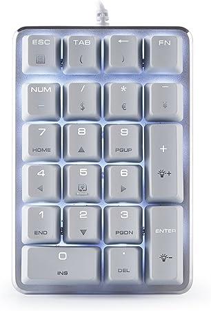 Mechanical Gaming Retroiluminado Teclado numérico 21 Teclas Color Blanco Mini Numpad con Cherry marrón para iMac/MacBook – Blanco Magicforce por Qisan