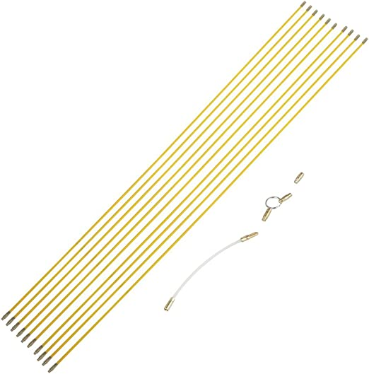 10X Fiberglass Cable Running Rods Kit Fish Tape Electrical Wire Coaxial