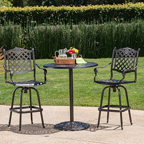 Arianna Outdoor Aluminum Bar Set with Patina Copper Finish (3) For Sale