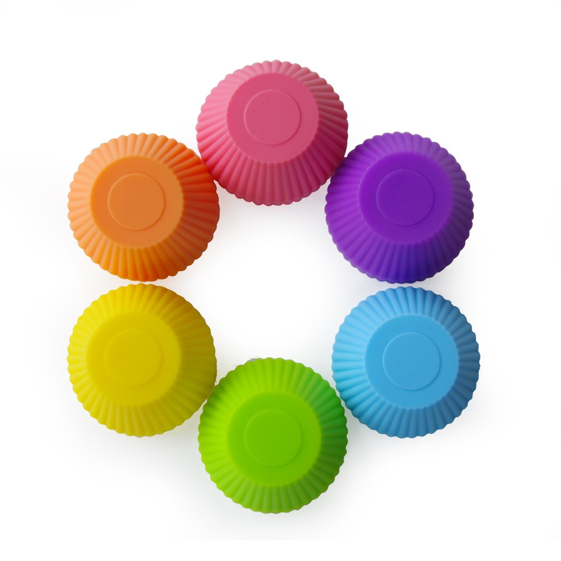 24 Pack-6 Vibrant Colors Round Mirenlife Reusable and Non-stick Mini Silicone Baking Cups//Muffin Cups//Mini Cupcake Liners//Mini Chocolate Holders//Truffle Cups