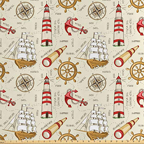 Lunarable Nautical Fabric by The Yard, Trip Around The World Pattern with Spyglass Old Fashioned Boat Windrose, Decorative Satin Fabric for Home Textiles and Crafts, Ivory Red Pale Coffee