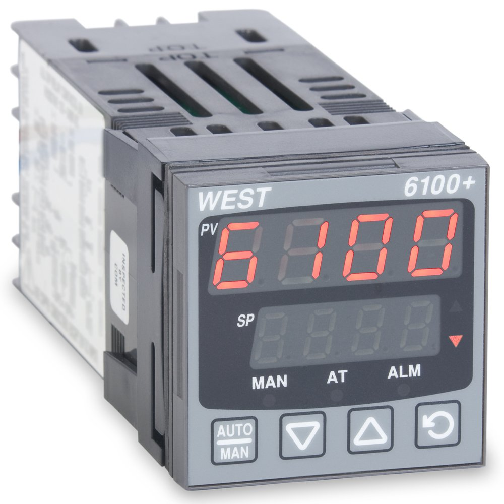 West P6101Z2100002 6100+ Series 1/16 DIN Temperature Controller, 100 to 240 VAC, One Relay Output, Red Upper/Green Lower Display by West