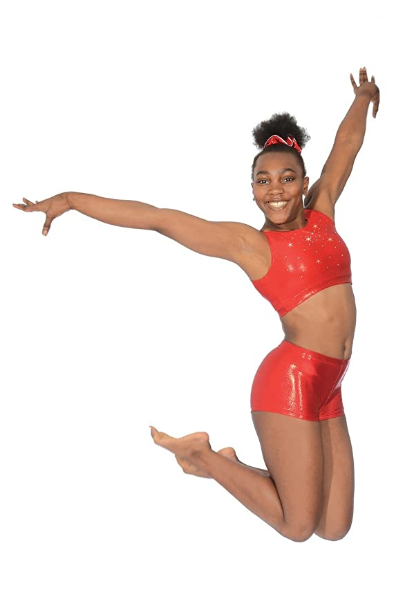 14ff9aa41119b The Zone Chic Shiny Nylon Lycra Gymnastics Crop Top with Crystals   Amazon.co.uk  Sports   Outdoors
