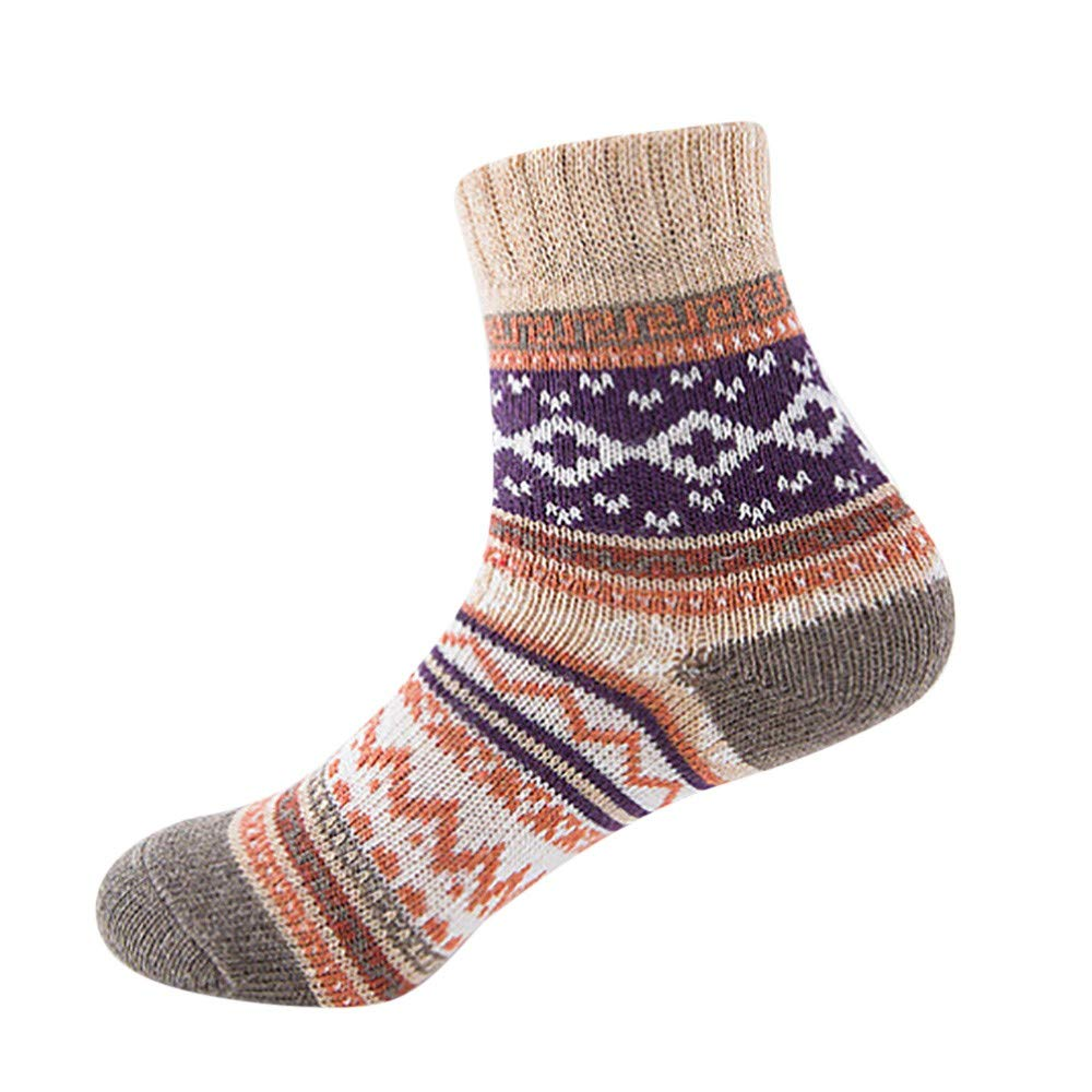 Mlide Vintage Geometry Socks-Womens Winter Print Soft Warm Thick Cold Knit Wool Crew Socks,1 Pairs(H)