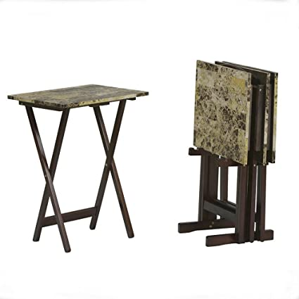 Amazon.com: Wood Folding Snack Table Set of 4 Marble Look Table Top ...
