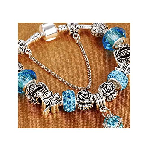 Price comparison product image European Style Vintage Silver Plated Crystal Charm Bracelet Women fit Original DIY Brand Bracelet Jewelry