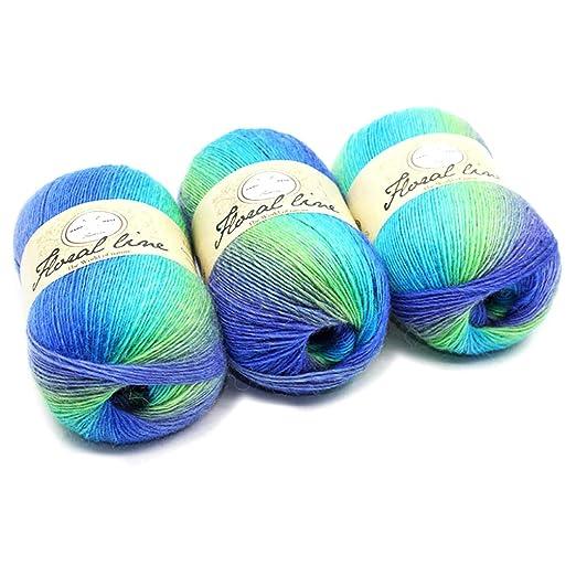 Dabixx Wollgarnfaden Weiche Kammgarn Regenbogen Farbverlauf Farben