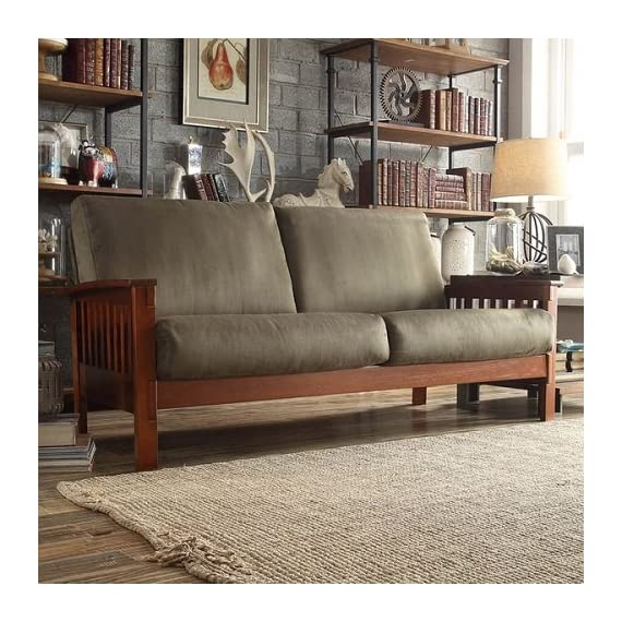 TRIBECCA HOME Hills Mission-style Oak and Olive Sofa -  - sofas-couches, living-room-furniture, living-room - 61nyFcJ45kL. SS570  -