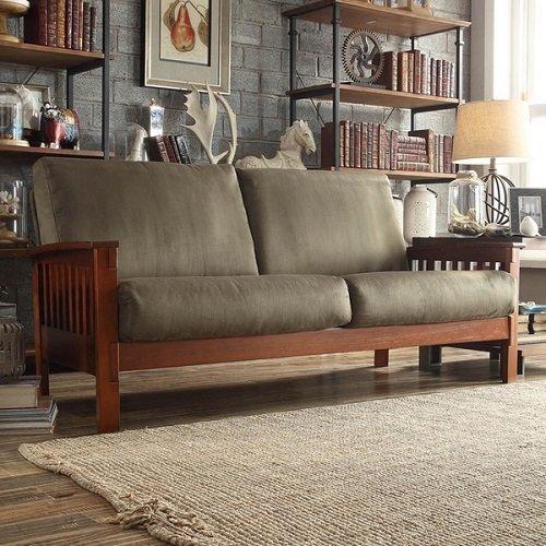 TRIBECCA HOME Hills Mission-style Oak and Olive Sofa - Olive Fabric Sofa